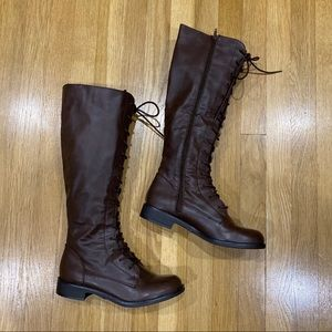 NEW Forever 21 Brown Faux Leather Lace-up Boots